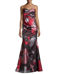 David Meister Strapless Floral Print Mermaid Gown Gray Red Grey Red