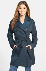 Ladder Lace Detail Double Breasted Trench Coat Trench Navy