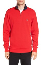 Lacoste Men's Quarter Zip Sweatshirt Bright Cherry Red Navy Blue