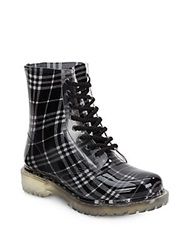 Chinese Laundry Roadie Plaid Lace Up Rain Boots