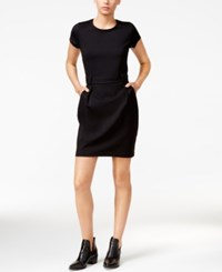 Maison Jules Belted Short Sleeve Dress Only At Macy's Deep Black