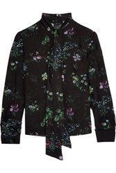 Iris And Ink Floral Print Silk Georgette Blouse Black