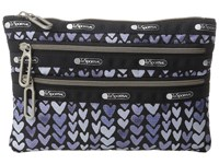 Le Sport Sac Classic 3 Zip Pouch Painted Hearts Blue Wallet Navy