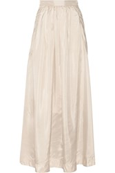 By Malene Birger Cudy Pleated Silk Maxi Skirt White