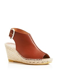 Bettye Muller Dresser Espadrille Open Toe Wedges Cognac