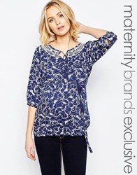 Mama Licious Mamalicious Printed Woven Top With Tassel Detail Blue