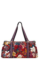 Sakroots 'Artist Circle' Extra Large Canvas Duffel Orange 21 Inch Crimson Flower Power