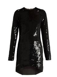Anthony Vaccarello Long Sleeved Sequin Embellished Silk Dress Black
