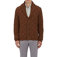 Isaia Men's Wool Shawl Collar Cardigan Brown