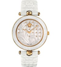 Versace Vao030016 Vanitas Gold Plated Ceramic And Leather Watch Sapphire