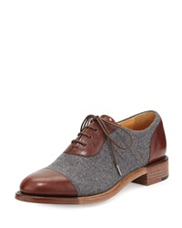 Mr. Hampton Wool Lace Up Cap Toe Oxford Tan The Office Of Angela Scott
