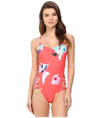 6 Shore Road Carnival One Piece Red Colombia Floral Women's Swimsuits One Piece Coral