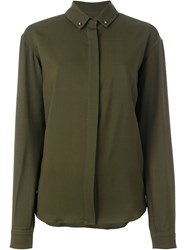 Anthony Vaccarello Hidden Button Shirt Green