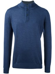 Fay Buttoned Neck Sweater Blue