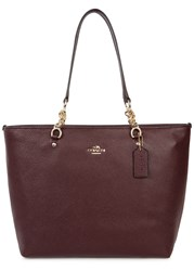 Coach New York Sophia Dark Purple Leather Tote