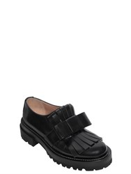 Marni 50Mm Fringed Bow Brushed Leather Loafers