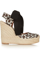 Stella Mccartney Leopard Print Canvas Wedge Espadrilles Animal Print