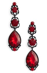 Tasha Women's Linear Drop Earrings Red Black