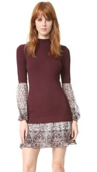 Veronica Beard Sweater Shirt Combo Dress Bordeaux