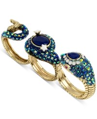 Betsey Johnson Gold Tone Blue Stone And Pave Snake Triple Finger Statement Ring