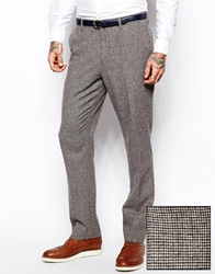 Asos Slim Fit Suit Trousers In Brown Dogstooth