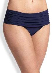 Shan Ruched Full Coverage Bikini Bottom Navy