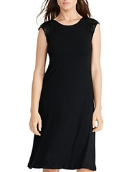 Lauren Ralph Lauren Beaded Cap Sleeve Jersey Dress Black