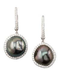 Gray South Sea Pearl And Diamond Framed Drop Earrings White Gold Eli Jewels