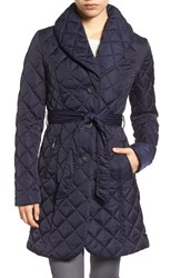 Tahari Women's Casey Quilted Shawl Collar Coat Navy