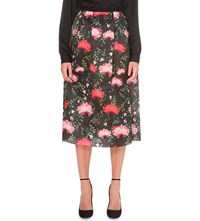 Erdem Floral Print Silk Midi Skirt Green Red