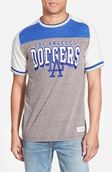 Mitchell Ness 'Los Angeles Dodgers No Hitter' Tailored Fit Graphic T Shirt Grey Heather