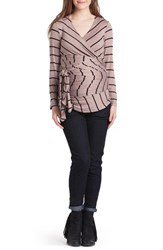 Lilac Clothing Women's Bella Faux Wrap Maternity Nursing Top Taupe Black Stripe