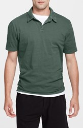 Men's James Perse Trim Fit Sueded Cotton Jersey Polo Black Bamboo Green