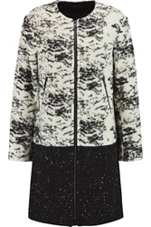 Rag And Bone Hanford Leather Trimmed Boucle And Wool Blend Coat White