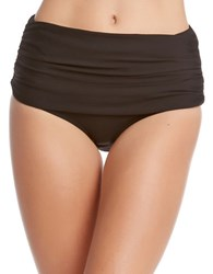 Karen Kane Plus Miranda High Waisted Bikini Bottoms Black