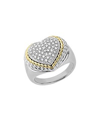 Lord And Taylor Diamond Heart Ring In Sterling Silver With 14K Yellow Gold Ss 14 Kt. Yg