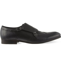 Hudson Welch Leather Double Monk Shoes Black