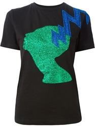 Christopher Kane Glitter Print T Shirt Black