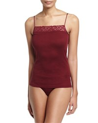 Hanro Moments Lace Trim Lounge Cami Red Plum