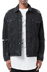 Topman Men's Aaa Collection Ripped Denim Jacket