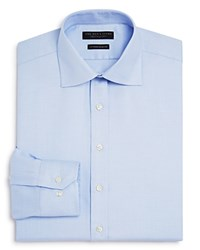Bloomingdale's The Men's Store At Textured Solid Regular Fit Dress Shirt Blue