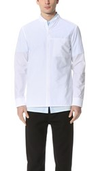 Helmut Lang Whisper Seersucker Bomber Shirt Optic White