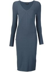 Narciso Rodriguez V Neck Fitted Midi Dress Blue