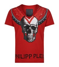 Philipp Plein Embellished Triangles T Shirt Male Red