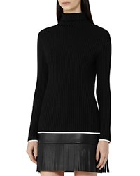 Reiss Olins Tipped Turtleneck Sweater Black Off White