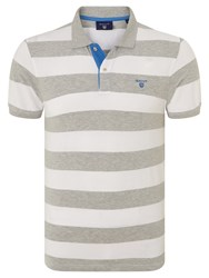 Gant Contrast Collar Bar Stripe Polo Shirt Grey