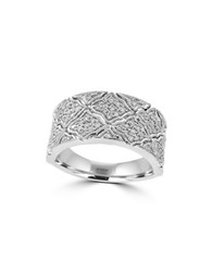 Effy Pave Classica Diamonds And 14K White Gold Ring