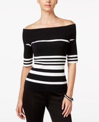 Inc International Concepts Striped Off The Shoulder Top Only At Macy's Deep Black