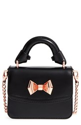 Ted Baker London 'Micro Metal Bow Shine' Leather Satchel Black