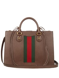 Gucci Animalier Grained Leather Tote Brown